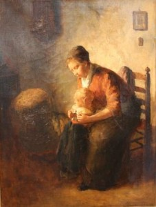 untitled (Mother and Child), painted by Bernard de Hoog, from the Dr. Viola Lobodowsky Collection, Brandon University (web)
