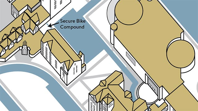 Graphical Map of Location of Secure Bike Compound on Campus