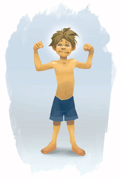 Illustration of boy flexing muscles