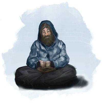 Illustration of homeless man