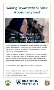 Poster for Walking Forward with Muslims features a screenshot from CBC programming and information on the event.