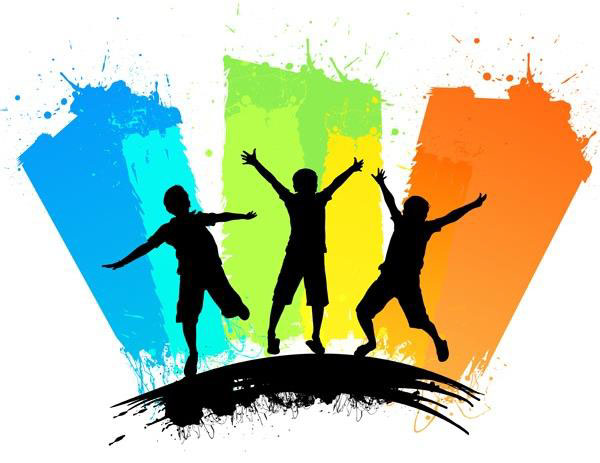 Silhouettes of three children playing in front of blue, green and orange backgrounds